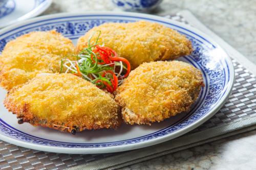 【酒樓晚宴會菜海鮮焗釀蟹蓋】飲食業專用素材圖像