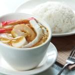 【東南亞風味大蝦魷魚帶子蟹柳海鮮咖哩配白飯】飲食業專用素材圖像