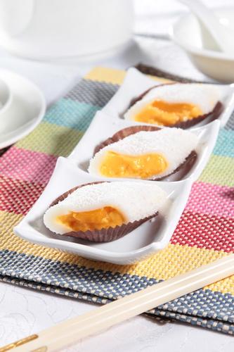 マンゴーもち米デザート・レストランのメニューデザイン用グルメ写真素材