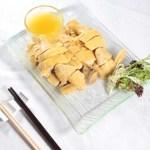 サンドジンジャーチキンとサンドジンジャーソース・レストランのメニューデザイン用グルメ写真素材