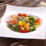 アスパラガスと3色のコショウの炒めあわび・ダウンロード可能なグルメ写真素材