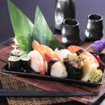 Sushi platter of salmon and surf clam
