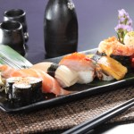 Salmon sushi, red shrimp sushi and egg sushi platter