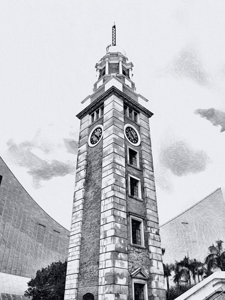 hong kong tsim sha tsui clock tower hand draw