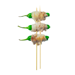 pork green chili skewer