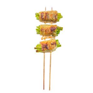 【香脆雞皮蒜心卷串燒 | 直身正面】可以下載已PHOTOSHOP去背的食物相