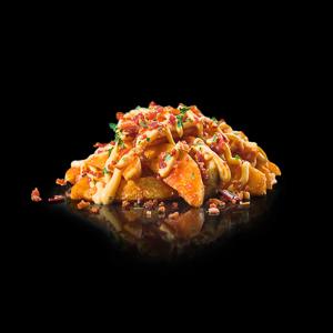 deep fried potato chili meat sauce