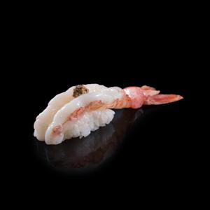 ボタンエビマスタード寿司の切抜き画像・食べ物写真素材・商用ダウンロード可