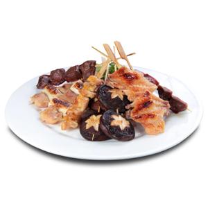 【串燒拼盤】整餐牌的方便美食圖庫選擇