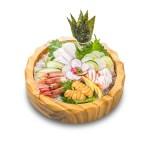 大蝦海膽干貝刺身木碗的去背退地食物素材相片