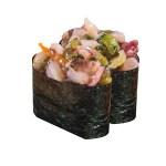 芥末八爪魚軍艦壽司兩件的去背退地食物素材相片