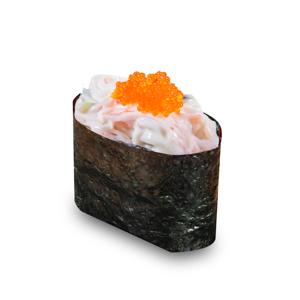 蟹籽沙拉軍艦壽司一件的去背退地食物素材相片