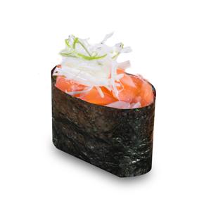 洋蔥三文魚軍艦壽司一件的去背退地食物素材相片