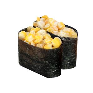 【玉米沙拉軍艦壽司兩件】印刷級的退地去背美食相