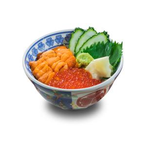 三文魚子海膽刺身丼飯的去背退地食物素材相片