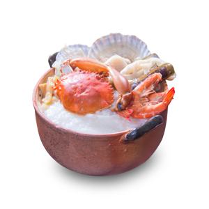 帆立貝蝦蟹海鮮粥底鍋的去背退地食物素材相片