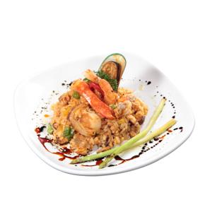 蟹柳帶子青口海鮮炒飯的去背退地食物素材相片