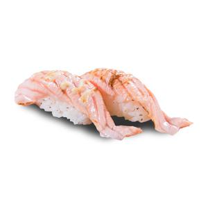 兩件沙律醬火炙三文魚壽司的去背退地食物素材相片