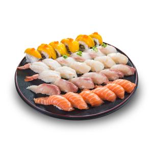 派對宴會三文魚油甘魚釣魚帆立貝芒果卷物壽司拼盤盛合的去背退地食物素材相片