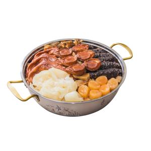 鮑魚海參元貝花膠鴨掌豪華盤菜的去背退地食物素材相片