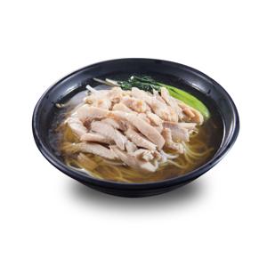鹽水煮雞絲油菜清湯米線的去背退地食物素材相片