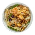 油炸蔬菜丼飯的去背退地食物素材相片