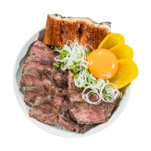 烤牛肉鰻魚蓋飯的去背退地食物素材相片