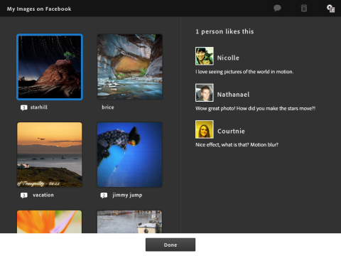Adobe Photoshop Touch - Sharing and Commenting on Facebook
