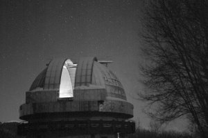 The Kiso Observatory observation dome (Photographed with an ultra-large-scale, ultra-high-sensitivity CMOS sensor amid illumination of 0.1-0.3 lux)