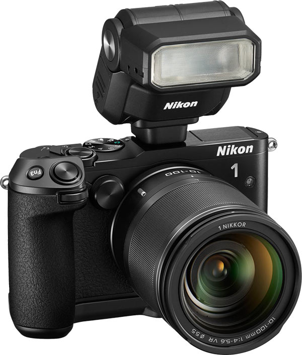 Nikon 1 V3 with optional external high resolution 2359k-dot electronic viewfinder (EVF) - the DF-N1000, optional multi-accessory grip - the GR-N1010, and Nikon 1 external flash