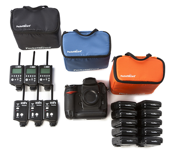 Above, PocketWizard G-Wiz Vault bags and gear. Left to right: six MultiMAX® or Plus® II radios, one full-size DSLR camera body; ten FlexTT5® Transceivers .