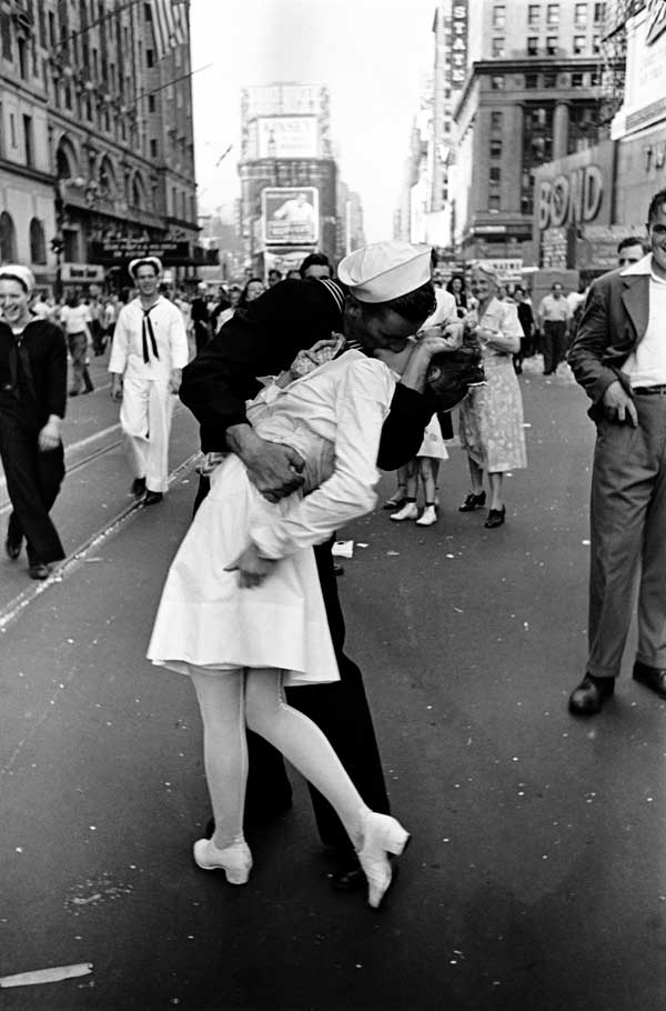 Photo by Alfred Eisenstaedt: Celebrations on VJ (Victory in Japan) day in New York's Times Square in 1945.