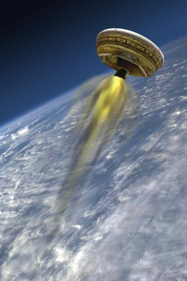 Rocket-powered Test Vehicle of the Low-Density Supersonic Decelerator Project (LDSD). This artist's concept shows the test vehicle for NASA's LDSD, designed to test landing technologies for future Mars missions. A balloon will lift the vehicle to high altitudes, where a rocket will take it even higher, to the top of the stratosphere, at several times the speed of sound. The Low-Density Supersonic Decelerator Project is managed by JPL for NASA's Space Technology Mission Directorate in Washington. Image credit: NASA/JPL-Caltech