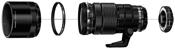 M.Zuiko Digital ED 40-150mm f2.8 PRO + Lens Hood LH-76 + Filter + 1.4x Teleconverter MC-14