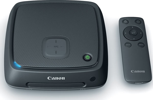 Canon Connect Station CS100 with the Canon Connect Station CS100's wireless remote control