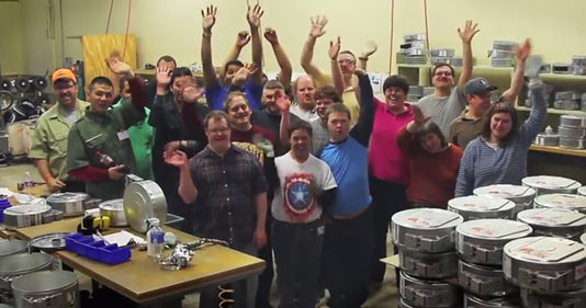 The Lifeworks team at the Stratasys recycling facility in Eden Prairie, Minnesota. The Stratasys recycling program provides employment opportunity to people with disabilities from the local community.