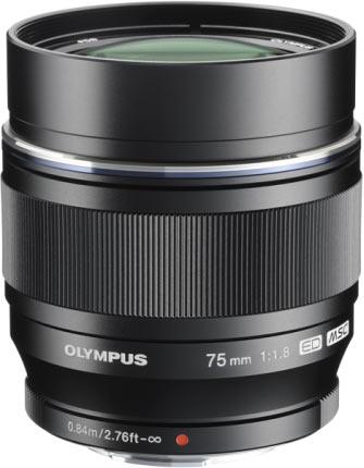 The fixed focal length lens: Olympus M.ZUIKO DIGITAL ED 75mm 1:1.8