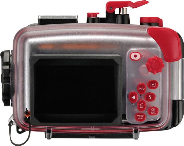 Olympus Stylus Tough TG-860, orange, with PT-057 Underwater Case; back