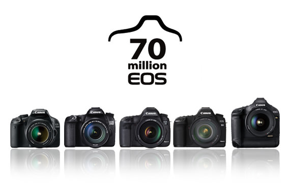 Canon Inc. achieved a camera-manufacturing milestone as combined production of the company's film and digital EOS-series interchangeable-lens cameras surpassed the 70-million mark on February 5, 2014. Image by Canon