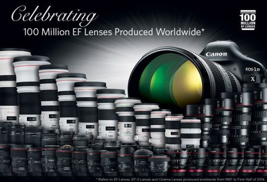 2014 marks the production of Canon's 100 millionth EF Lens! Since the first EF lens was introduced in 1987, Canon EF lenses have played an integral role in the world of photography. Image by Canon.