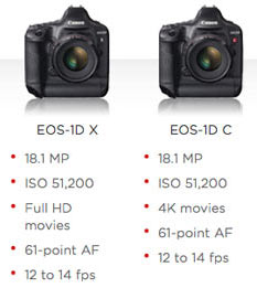 Left to right: Canon EOS-1D X and EOS-1D C. Image by Canon
