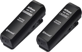 Nikon ME-W1 Wireless Microphone transmitter (left) and receiver (right)