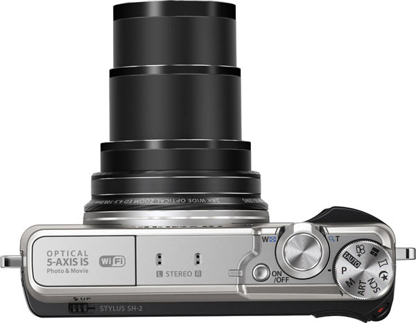 Olympus Stylus SH-2, silver: 24x optical zoom lens adjusts to 600mm telephoto