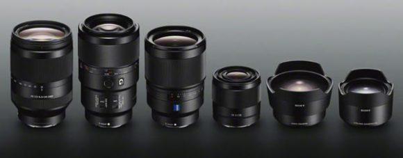 Sony α E-mount lenses and converters (left to right): FE 24-240mm F3.5-6.3 OSS (model SEL24240), FE 90mm F2.8 Macro G OSS (model SEL90M28G), ZEISS® Distagon T* FE 35mm F1.4 ZA (model SEL35F14Z), FE 28mm F2 (model SEL28F20), Sony SEL057FEC Fisheye Converter, Sony SEL075UWC Ultra-wide Converter