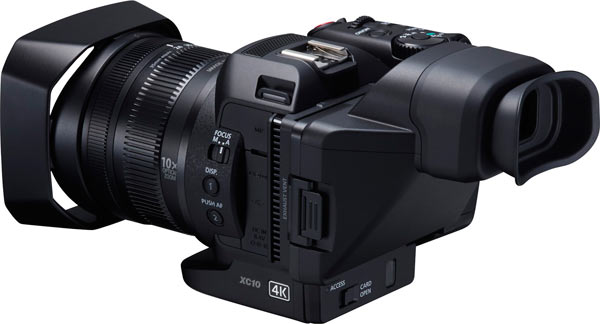 Canon XC10 with optical loupe viewfinder that fits the LCD
