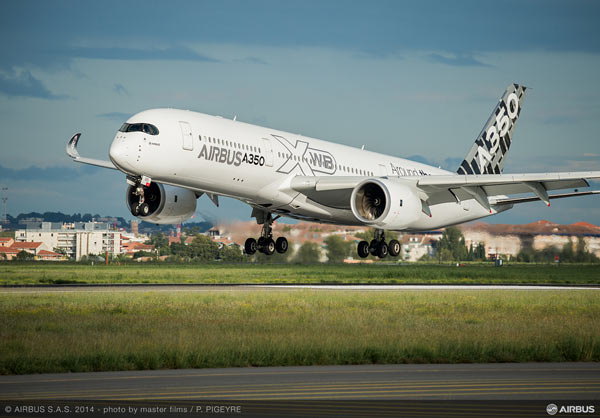 The Airbus A350 XWB aircraft contains more than 1000 flight parts 3D printed on Stratasys FDM Production Systems