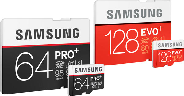 Samsung new microSD cards and SD cards: 64GB - PRO Plus (left) and 128GB - EVO Plus (right)