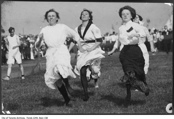 Title: Three women running a race, Toronto Island: Date(s) of creation of record(s): [1907?]. City of Toronto Archives; Fonds 1244, Item 158