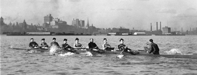 Varsity eight-man Olympic rowing crew in Toronto Harbour, May 1924; Source: University of Toronto Image Bank - Digital Image No. 2001-77-144MS; Author: Loudon, Thomas Richardson