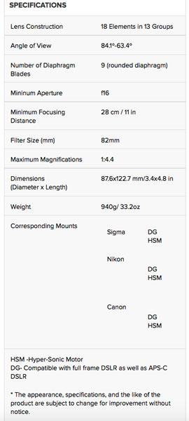 Sigma 24-35mm F2 DG HSM Art lens' specifications
